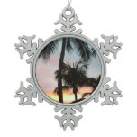 Sunset Palms Tropical Landscape Photography Snowflake Pewter Christmas Ornament