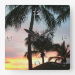 Sunset Palms Tropical Landscape Photography Square Wall Clock