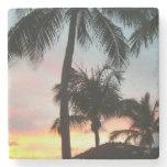 Sunset Palms Tropical Landscape Photography Stone Coaster