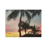 Sunset Palms Tropical Landscape Photography Wood Poster