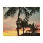 Sunset Palms Tropical Landscape Photography Wood Print