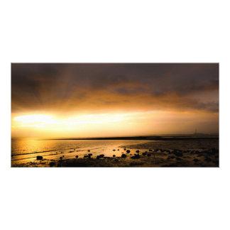 Sunset panoramic sea shore at Meon Beach Card