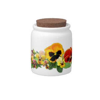 Sunset Pansies Candy Dishes