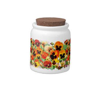 Sunset Pansies Candy Jars