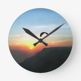Sunset Paraglide Round Clock