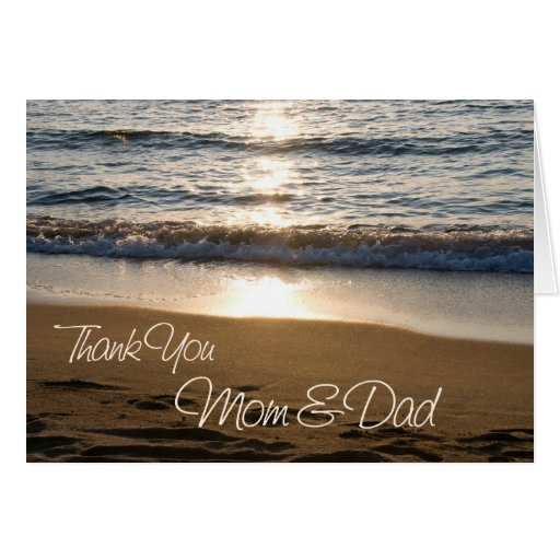 Sunset Parents Wedding Day Thank You Card