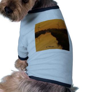Sunset Peaceful Wind Farm Dog T-shirt