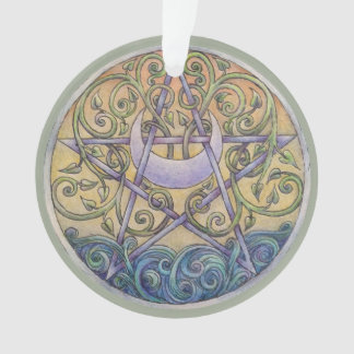 Sunset Pentacle Ornament with Ribbon