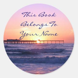 Sunset Pier Bookplate Classic Round Sticker