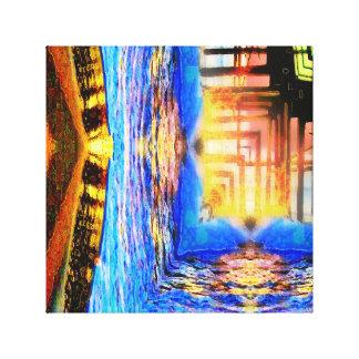 Sunset Pier Squared Canvas Print