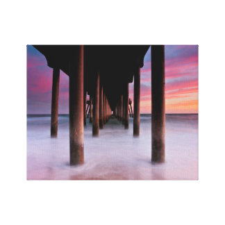 "Sunset Pilings Huntington Beach Pier    11"" x 14"" Canvas Print"