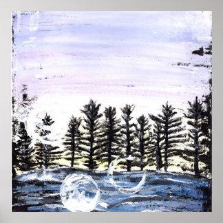 Sunset Pine Tree Line Manly Beach Art Print