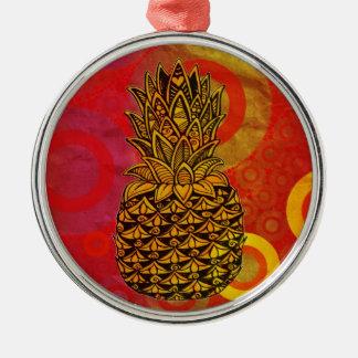 Sunset Pineapple Round Metal Christmas Ornament