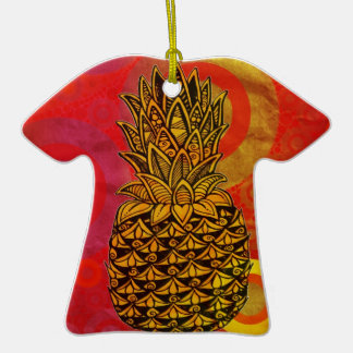 Sunset Pineapple Double-Sided T-Shirt Ceramic Christmas Ornament