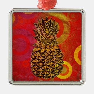 Sunset Pineapple Square Metal Christmas Ornament