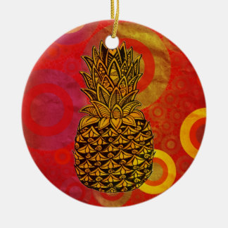 Sunset Pineapple Double-Sided Ceramic Round Christmas Ornament