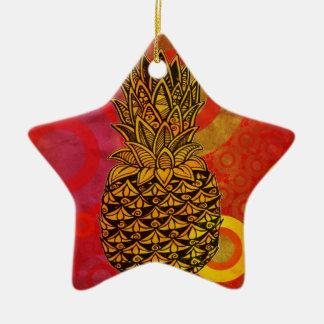 Sunset Pineapple Double-Sided Star Ceramic Christmas Ornament