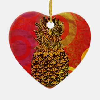 Sunset Pineapple Double-Sided Heart Ceramic Christmas Ornament