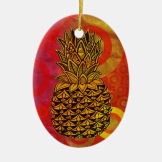 Sunset Pineapple Double-Sided Oval Ceramic Christmas Ornament