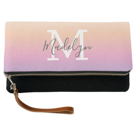 Sunset Pink Ombre Personalized Name and Monogram Clutch
