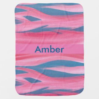 Sunset Pink Red Blue Personalized Baby Blankets