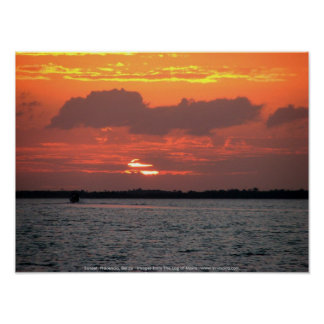 Sunset, Placencia, Belize Poster