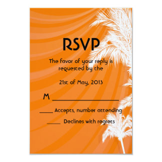Sunset Plam Trees Wedding RSVP Card