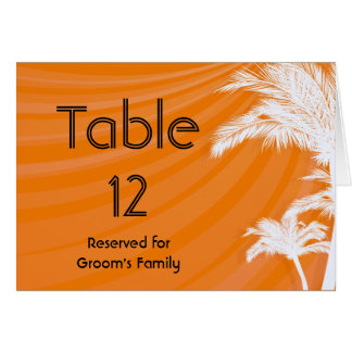 Sunset Plam Trees Wedding Table Number Card
