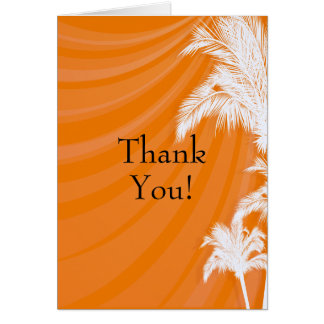 Sunset Plam Trees Wedding Thank You Card