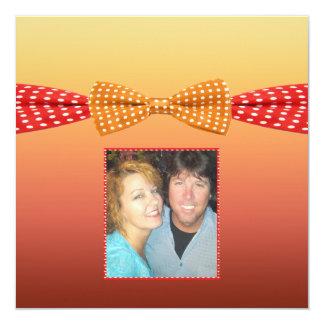 Sunset Polka Dot Summer Wedding 5.25x5.25 Square Paper Invitation Card