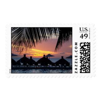 sunset pool postage stamp