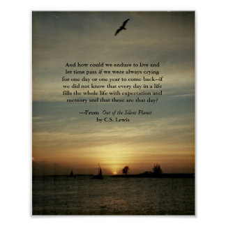Sunset poster with C S Lewis quote