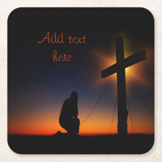 Sunset Prayer at the Cross Square Paper Coaster