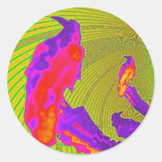 Sunset Purple Raven Modern Design By sharles Classic Round Sticker