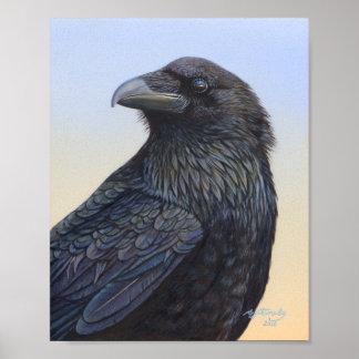 Sunset Raven Crow Poster by ArtByAkiko