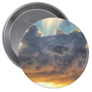 Sunset Rays of Light through Stormy Clouds Pinback Button