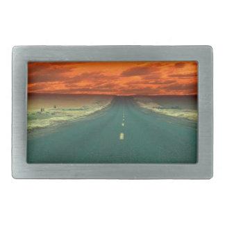 Sunset Red Road Sky Rectangular Belt Buckles
