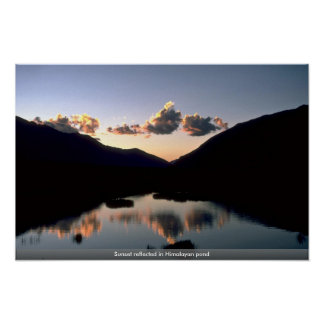 Sunset reflected in Himalayan pond Print