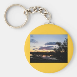 Sunset reflecting on Snake River by Payette, Id Keychain