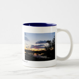 Sunset reflecting on Snake River by Payette, Id Two-Tone Coffee Mug