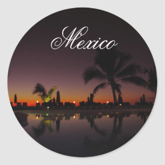 Sunset Reflection; Mexico Round Sticker