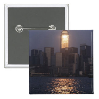 Sunset reflection on Central Plaza, WanChai, 2 Inch Square Button