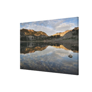Sunset reflections on Lake Helen, Lassen Stretched Canvas Print