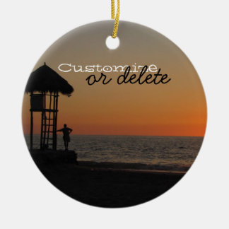 Sunset Resting Spot; Customizable Ceramic Ornament