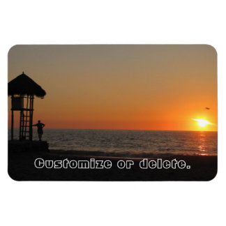Sunset Resting Spot; Customizable Rectangular Photo Magnet