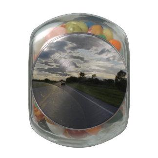 Sunset Ride Glass Candy Jars