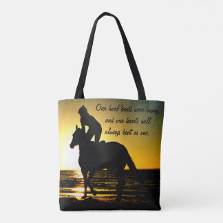 Sunset Ride on the Beach - Horse and Rider Tote Bag