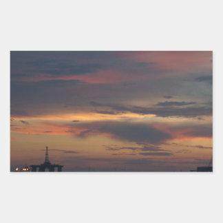Sunset Rig Rectangular Sticker