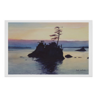 """Sunset Rockaway Beach"" Watercolor Painting Poster"
