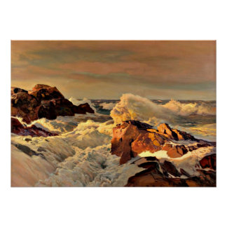 Sunset Rocks, painting by Frederick Waugh Poster